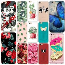 Silicone Flower For Funda iPhone 6 6S 5 5S 5SE 7 8 Plus Case Cute Soft TPU Donut Cactus Cat Pattern Shell Back Cover Capa(China)