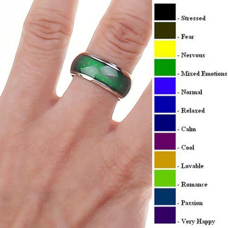 Fashion New Jewelry Moon Shape Color Change Mood Ring Emotion Feeling Changeable Band Temperature