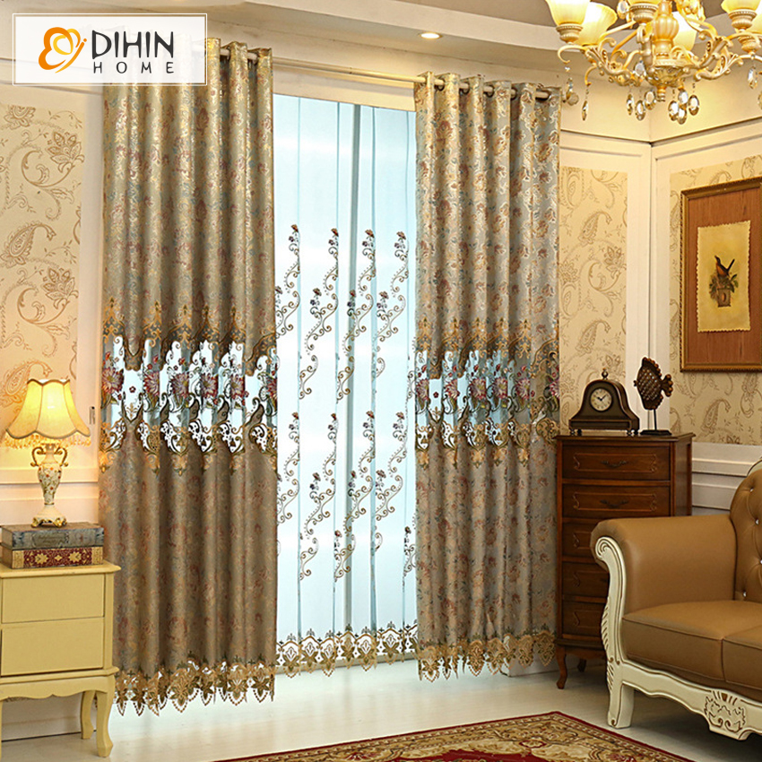Dihin luxury curtains european embroidered cortinas - European style curtains for living room ...