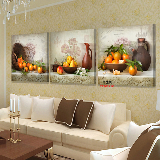 3 Piece Modern Canvas Kitchen Fruit Pictures For Living Room Print ...