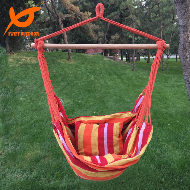 rope chair swing adirondack chairs composite swift outdoor hanging hammock porch seat two cushions striped