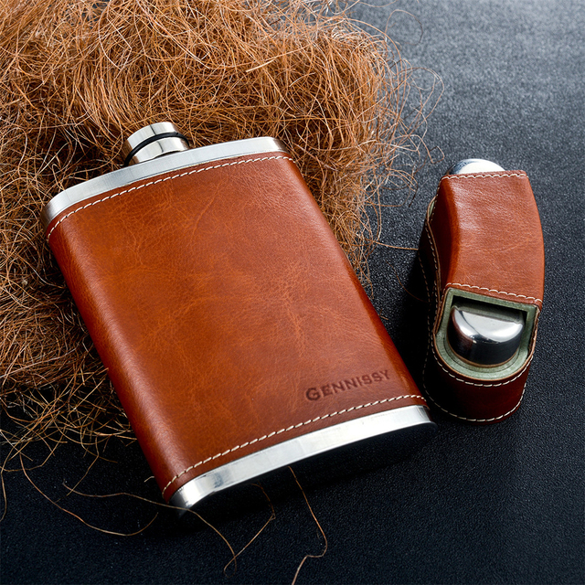 8oz Leather Covered Flask With 3 Caps 3