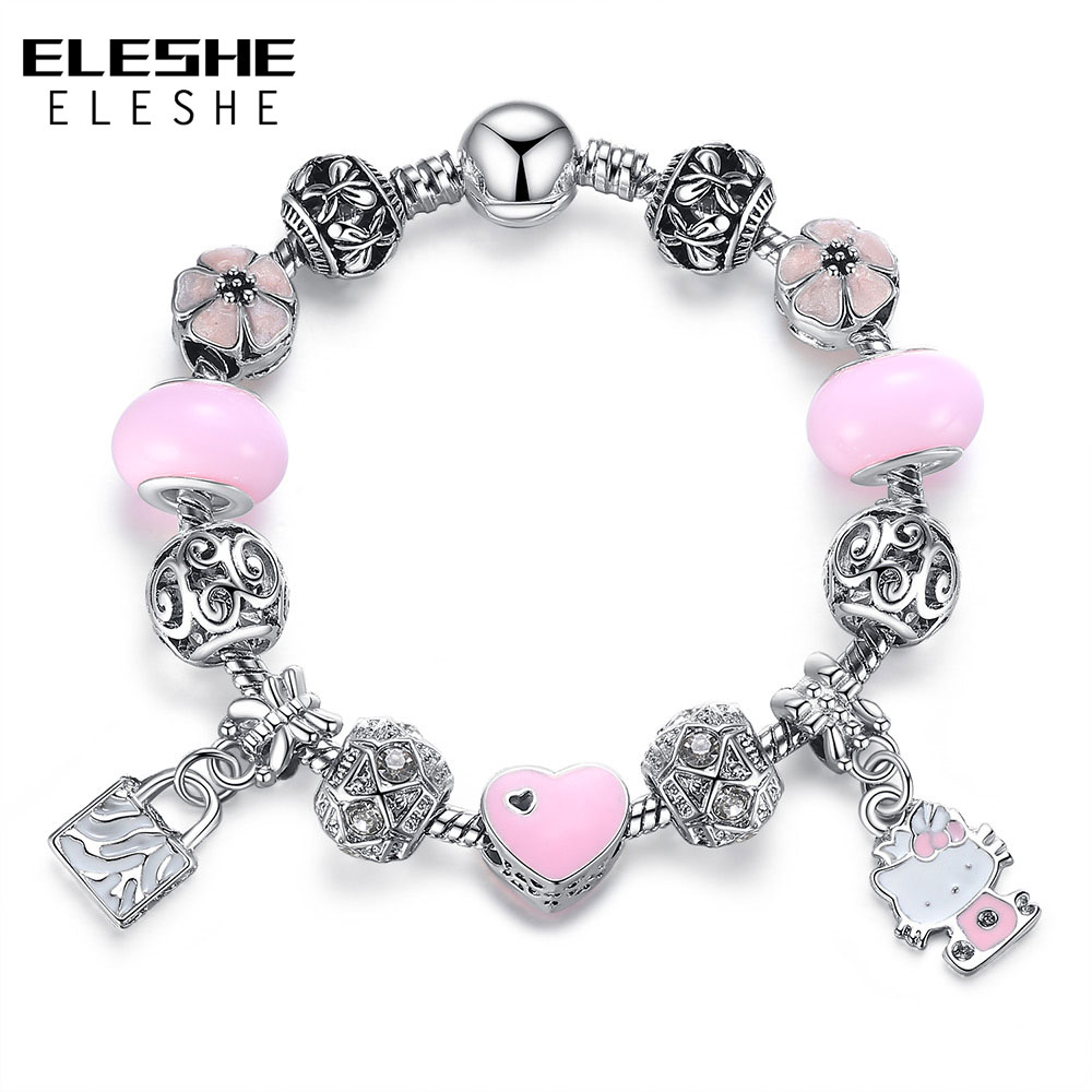 ELESHE Cute Children Charms Armbånd Bangle for Kids Girl Murano - Mote smykker - Bilde 3