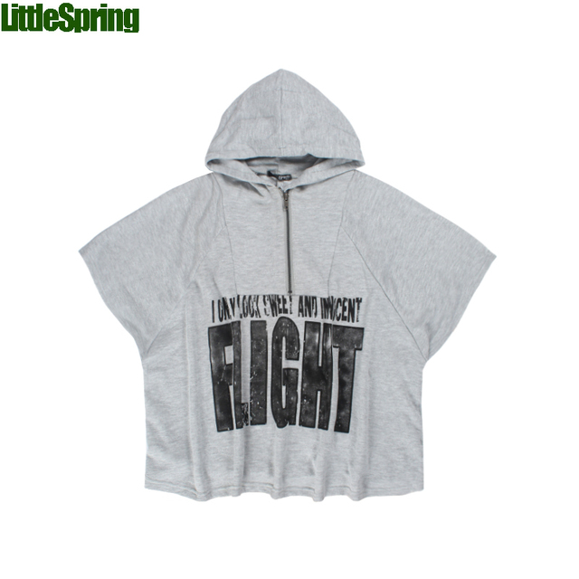 LittleSpring Retail Children's T-shirts In stock! Kids 'flight' letter patterns T-shirts Fashion hooded t shirt