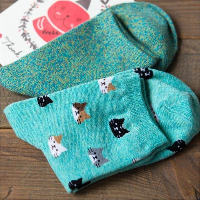 2 Caramella Пар/лот Мода Прекрасный Кот Шаблон Носки Животных Носки для Женщин Хлопок Синий Мягкие Носки 10474