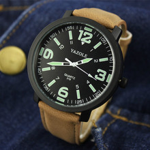 Yazole Quartz Watches Men Top Brand Leather Strap Big Dial Stainless Steel Light Luminous Electronic Man Watch Reloj Hombre