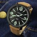 Yazole relógios de quartzo homens marca de topo pulseira de couro grande mostrador em aço inoxidável luz eletrônico luminosa homem relógio reloj hombre