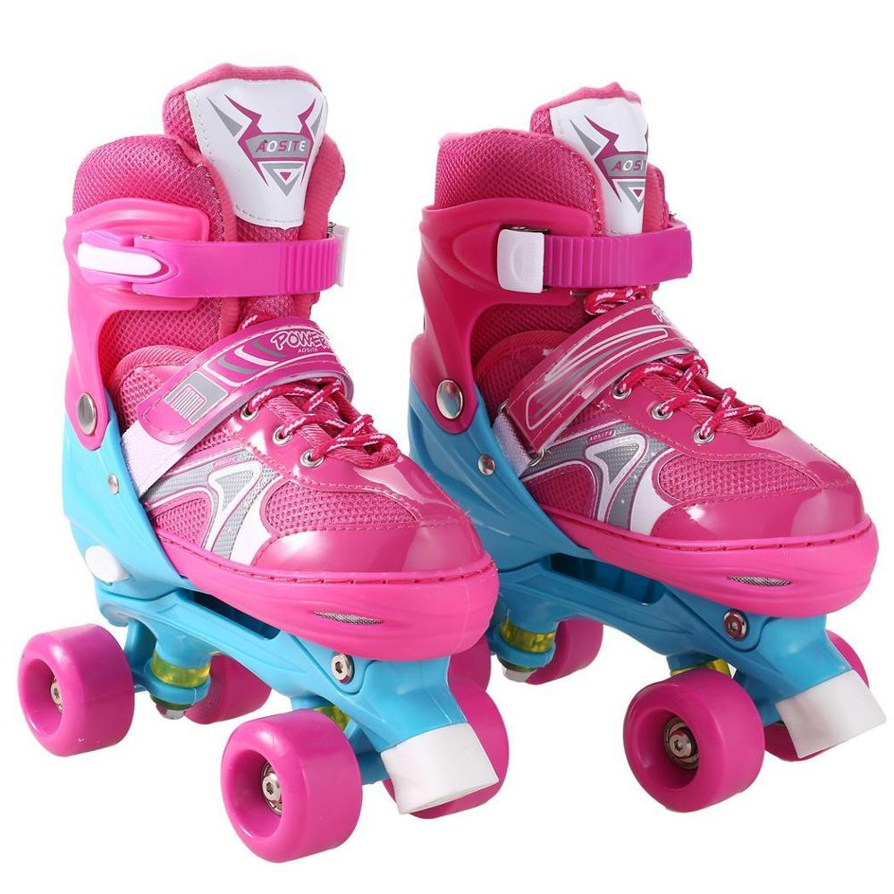 Lovely Stable Children Roller Skates Kids Skate Balance Slalom Parallel Flashing Ice Skate Roller Shoes Adjustable Washable Fal