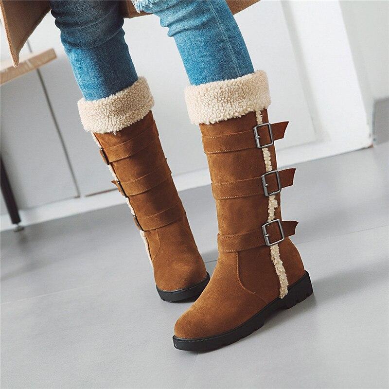 Rojo Mediados Pantorrilla Largo Botas La negro Correa Caballero Negro Señoras Zapatos marrón Más Tamaño Invierno Beige Mujeres Hebilla De rojo Flock Ymechic Montar Altas 7wqAtd7