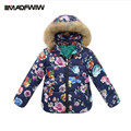 Kids Girls Winter Outerwear Coats Down Jackets Fashion Hooded Floral Warm Coats Winter Clothing Europe High Quality 2016 New