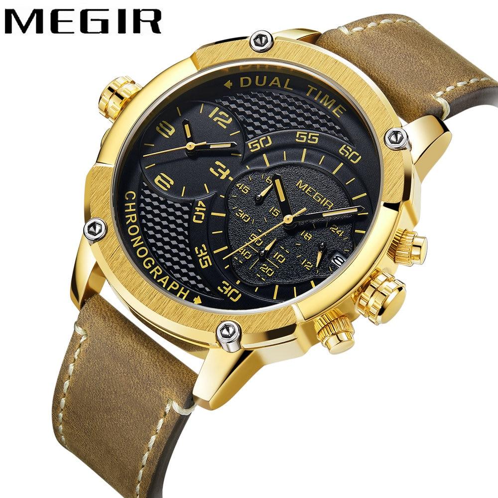 MEGIR 2018 Golden Mens Watches Top Brand Luxury Chronograph Calendar Quartz Clock Dual Time Zones Waterproof Fashion Wrist Watch стоимость