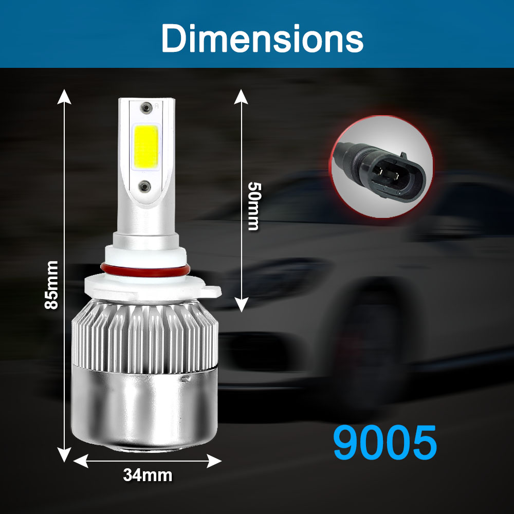 Image 5 - 2Pcs Car Lights Bulbs LED H4 H7 9003 HB2 H11 LED H1 H3 H8 H9 880 H27 9005 9006 HB4 H13 9004 9007 Auto Headlights 72W COB 6000K-in Car Headlight Bulbs(LED) from Automobiles & Motorcycles