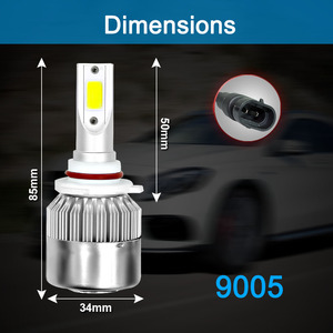 Image 5 - 2Pcs Car Lights Bulbs LED H4 H7 9003 HB2 H11 LED H1 H3 H8 H9 880 H27 9005 9006 HB4 H13 9004 9007 Auto Headlights 72W COB 6000K