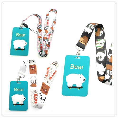 New 1pcs Cartoon Japanese Anime Bears Pvc Card Holder Identity Badge With Lanyard Neck Strap Card Bus ID Holders With Key Chain
