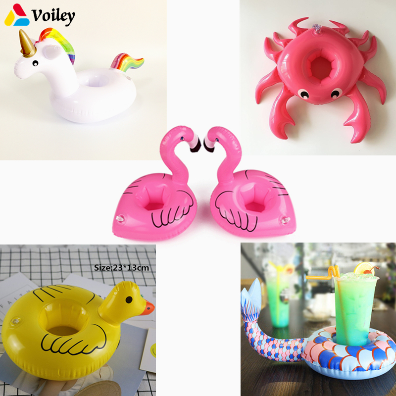 10pcs/lot Party Decoration Mini Inflatable Unicorn Flamingo Drink Float Cup Holder PVC Swimming Pool Bathing Beach Kids Toy,5