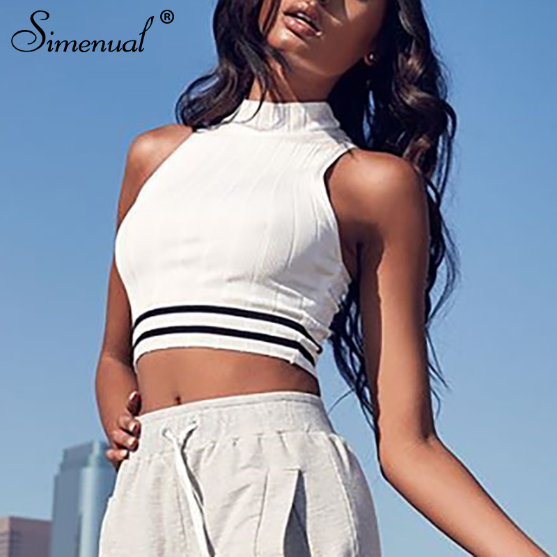 Simenual Knitted sleeveless streetwear crop   top   women hanging neck striped   tank     tops   2019 summer harajuku vest slim casual tee
