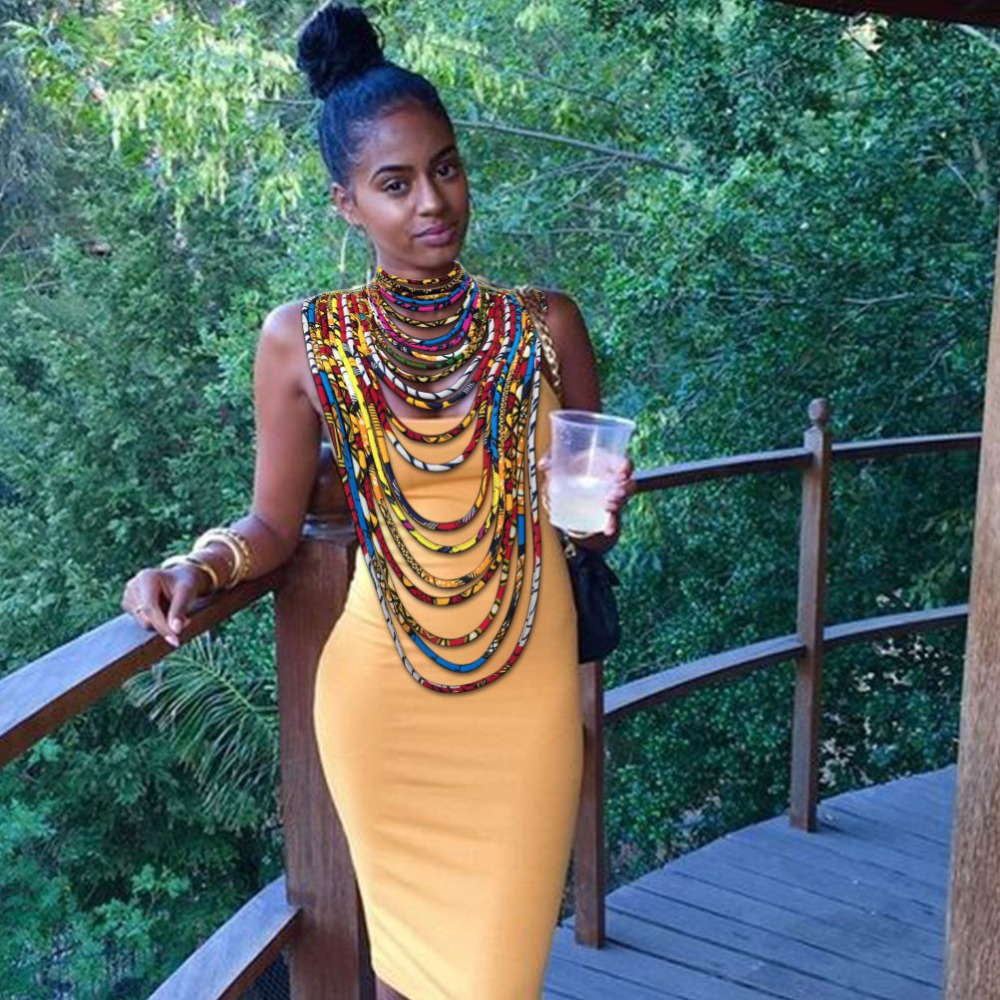 African wax fabric necklace dashiki Ankara necklace colorful rope traditional women jewelry (7)