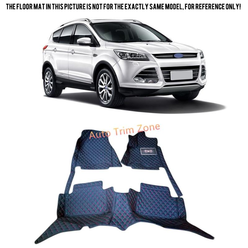 Black Interior Leather <font><b>Floor</b></font> Mat & Carpet For <font><b>Ford</b></font> <font><b>Escape</b></font> / Kuga 2013-2015