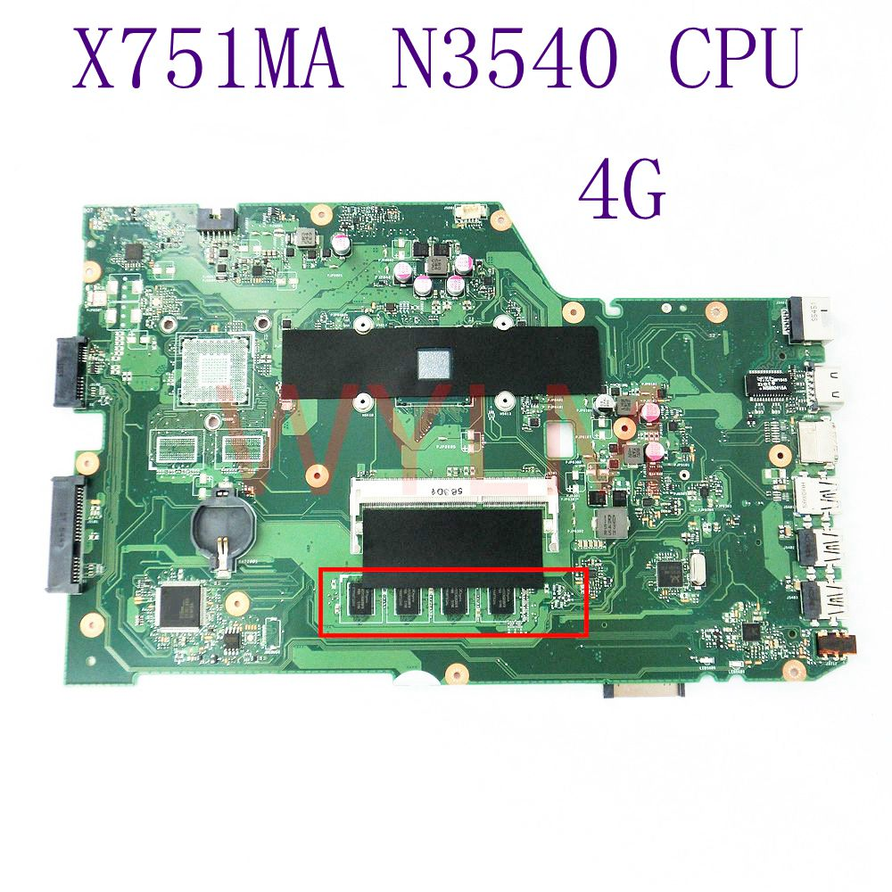 X751MA With N3540 CPU Mainboard For ASUS X751M X751MA X751MD K751M K751MA R752M Laptop motherboard 100% Tested Working Well