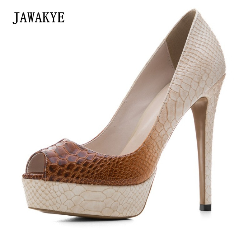 Здесь продается  2018 Snakeskin Platform High Heel Shoes Woman Peep Toe Mixed Color Fashion Pumps Women Shoes Party   Обувь