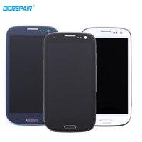 100% teste de Preto/Branco/Azul Para Samsung Galaxy S3 i9305 Lcd Tela de Toque Digitador Assembléia Peças de Reposição + quadro