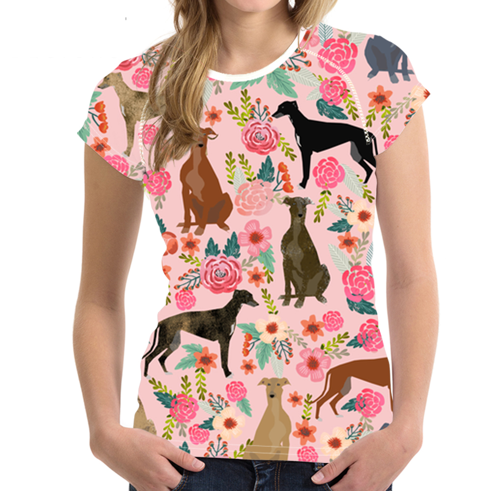 Customized Women T Shirt Cartoon GreyHounds Print Pink T-shirt Cute Dog Rescue Dog Floral Tee Shirt Female Tops for Teen Girl