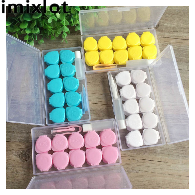 Imixlot 1 Set Travel Glasses Contact Lenses Box Contact lens Case Eyes Care Kit Holder Container Gift Eyeglasses Accessories