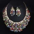 Woodqiqi Chapado En Oro Perlas de Cristales de Colores de Moda Nupcial Sistemas de La Joyería Grande Collar Collares Pendientes 2016 de Las Mujeres de Moda