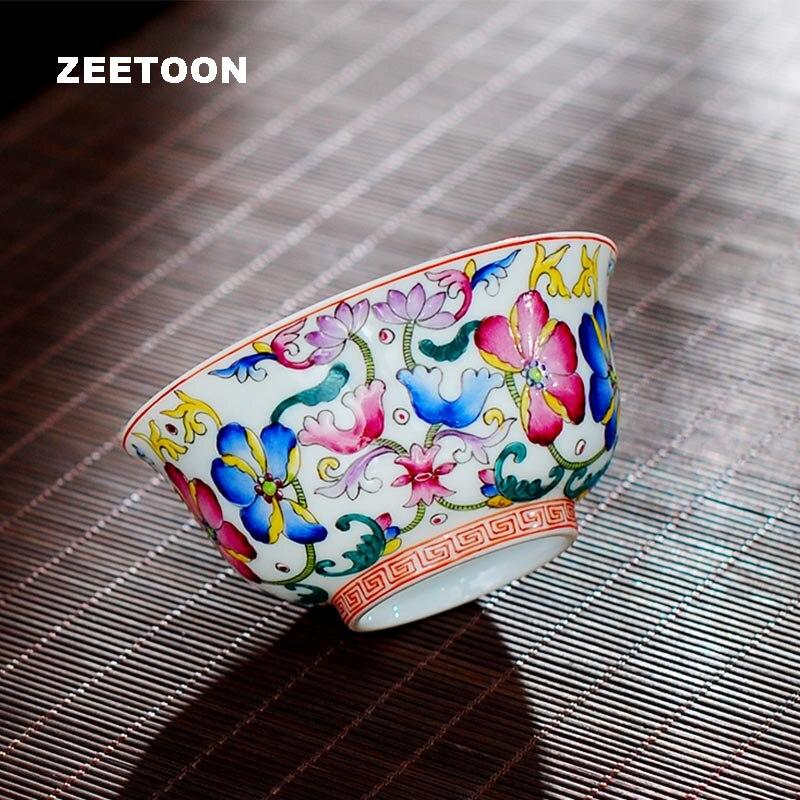 Privé personnalisé 110 ml Boutiques Jingdezhen céramique couleur émail porcelaine tasse à thé maître thé ensemble thé bol Vintage décor à la maison