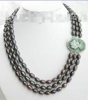 Free Shipping >>> natural peacock black pearls necklace cameo cla