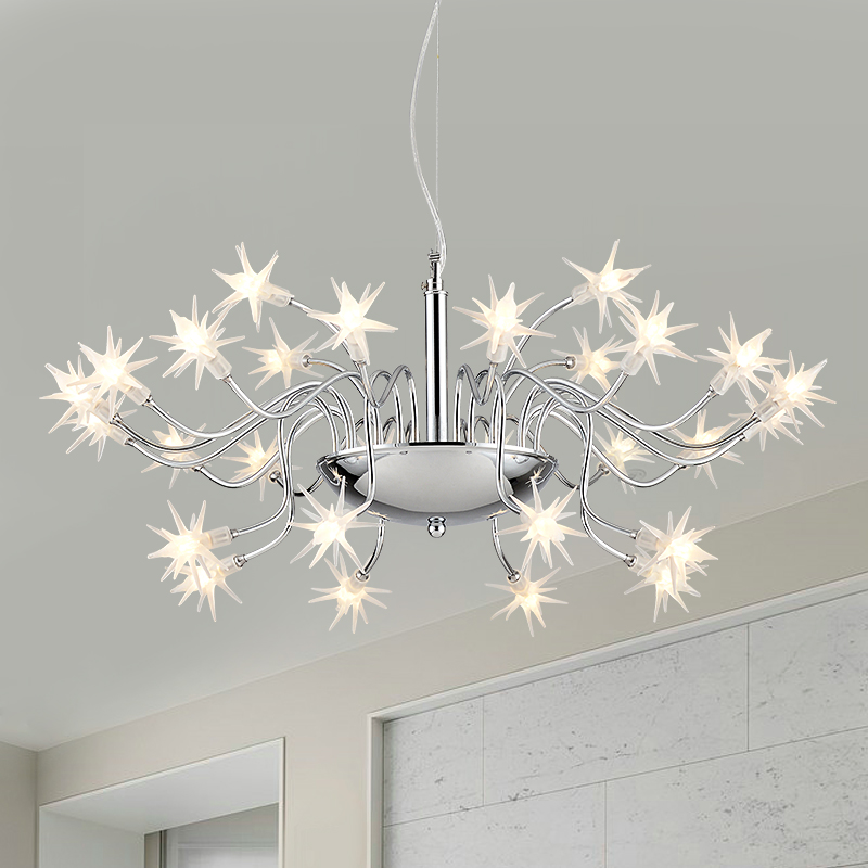 Modern Chrome Metal Led Chandelier Lighting Glass Stars Living