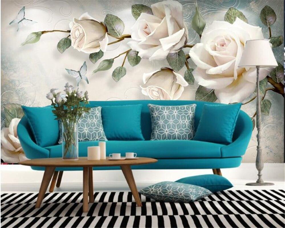 Купить с кэшбэком Beibehang Custom wallpaper mural modern hand painted flowers European style TV backgrounds wall living room bedroom 3d wallpaper