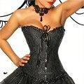 Сексуальная Талия Shaper Корсеты и Бюстье Вышивка Зашнуровать Corpete Корсетные Готический Черный Brocade Викторианской Талия Cincer Корсет