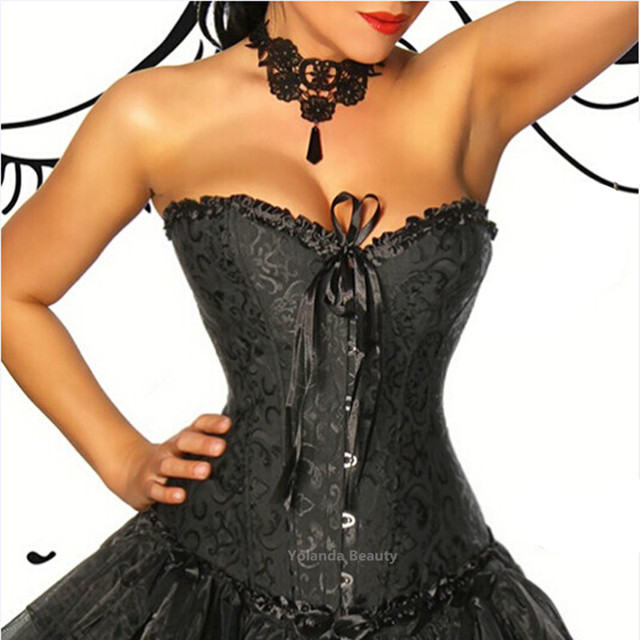Sexy Waist Shaper Corsets and Bustiers Embroidery Lace Up Corpete Corselet Gothic Black Brocade Victorian Waist Cincer Corset
