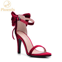 Phoentin Red Velvet Women Sandals With Butterfly 2018 New Ladies High Heel Party Shoes Summer Luxury