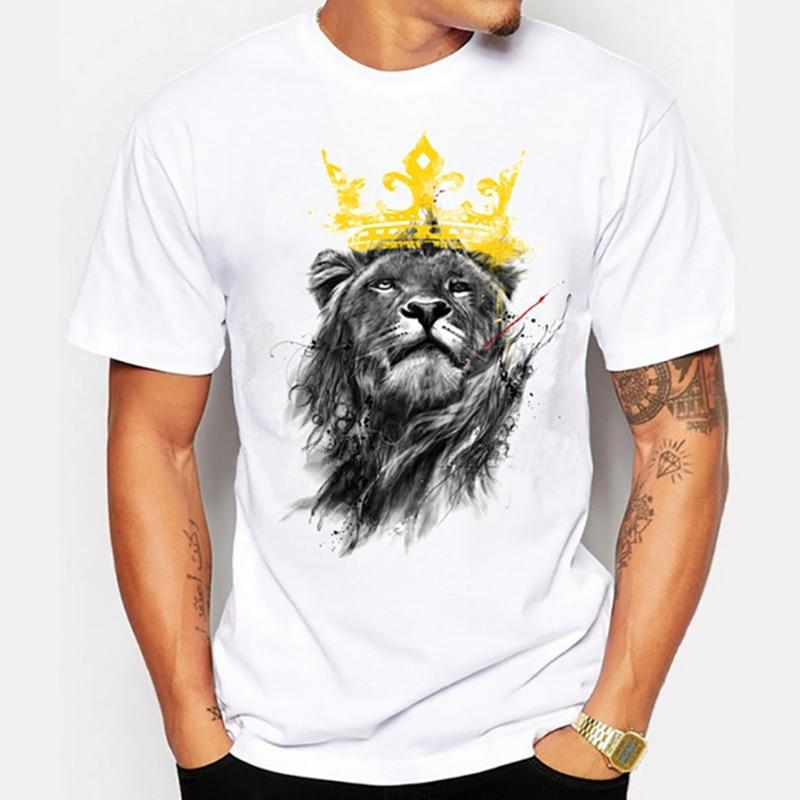 74f6c1d350cf Мужская последнее 2017 мод с коротким рукавом Король Лев футболка с  рисунком смешные Футболки Битник О-образным вырезом Прохладный топы