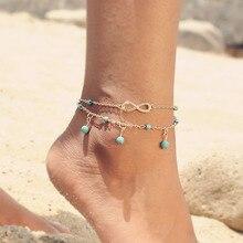 Beagloer Barefoot zomer stijl charmant oneindige blauwe kralen parel enkelbandje twee kettingen enkelband voet voor vrouwen sieraden