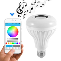 Smart Wireless Bluetooth LED Stereo Audio Speaker RGB Colorful Bulb 12W 28 LEDs Light Beads Music