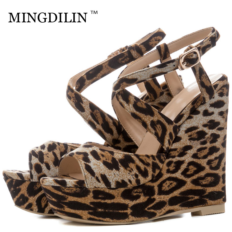 MINGDILIN Summer Women's Wedges Sandals High Heels Platform Woman Heels Leopard Shoes Peep Toe Women's Sandals Zapatos Mujer cdts 35 45 46 summer zapatos mujer peep toe sandals 15cm thin high heels flowers crystal platform sexy woman shoes wedding pumps