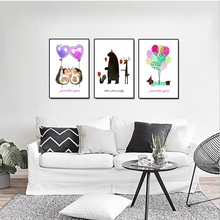 Love Balloon Cartoon Animal Canvas Painting Living Room Decoration Nursery Nordic Kids Posters And Prints