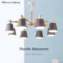 Nordic minimalist wooden chandelier 5 head 8 living room dining room bedroom lamp E27\AC90-260V macarons chandelier QX1007(China)