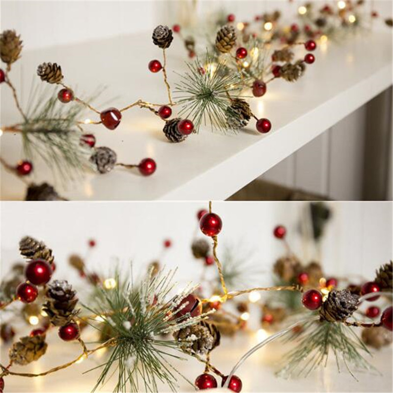 Leedome LED Christmas String Light Pine Cone Star Berry Fairy Light Holiday Wedding Room Garland Decoration Battery String Lamp in LED String from Lights Lighting