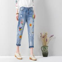 2017 spring and summer new personality denim collapse pants embroidered loose lady hole jeans nine pants w240