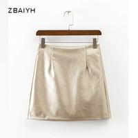 2017 Moda Kobiety Faux Złoty Pu Spódnice Metal Kolor Kobiet Krótki Linii Spódnice Kobiet Srebrny Sexy Mini Spódniczki Saias Vestidos