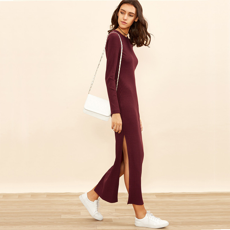 COLROVIE Winter Dresses for Women European Style Women Fall Dresses Burgundy Knitted Long Sleeve High Slit Ribbed Dress 12