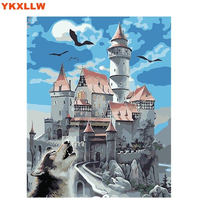 Landschap Moonlight Night Howl Wolf kleurplaat nummers schilderij ...