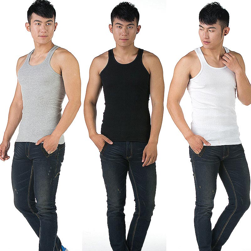 Summer Men Sexy Vest Solid Color U Neck   Tank     Tops   Sleeveless Shirts Man Casual Tights Vests L-3XL FDC99