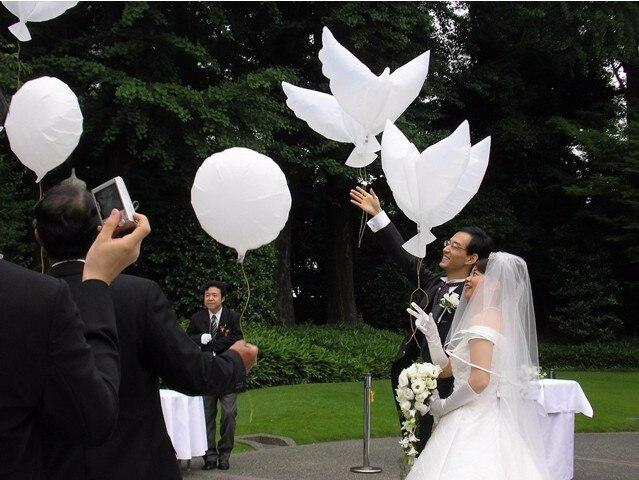 50 pcs 104*54 cm biodégradable décoration de fête de mariage blanc colombe ballon orbes paix oiseau ballon pigeons mariage hélium ballon-in Ballons et accessoires from Maison & Animalerie    2