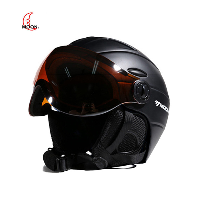 MOON Ski helmet integrated full coverage protector white self contained goggles 2 in 1Visor Ski Snowboard
