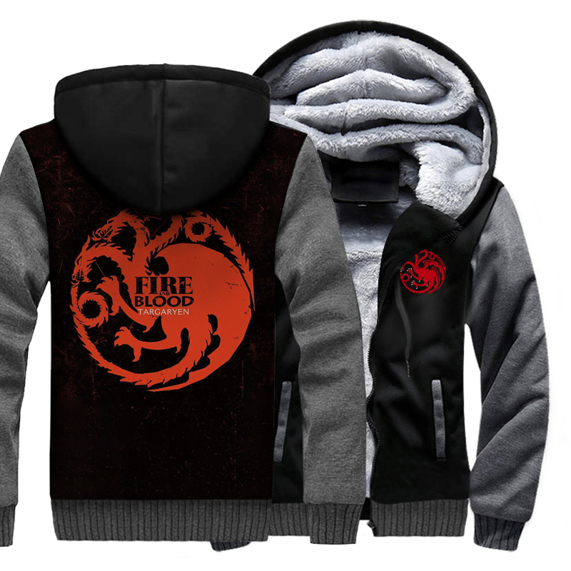 Game Of Thrones Targaryen Fire And Blood Hoodie 2019 Winter Raglan Jackets Men Thick Fleece Plus Size Men's Sweatshirts 3D